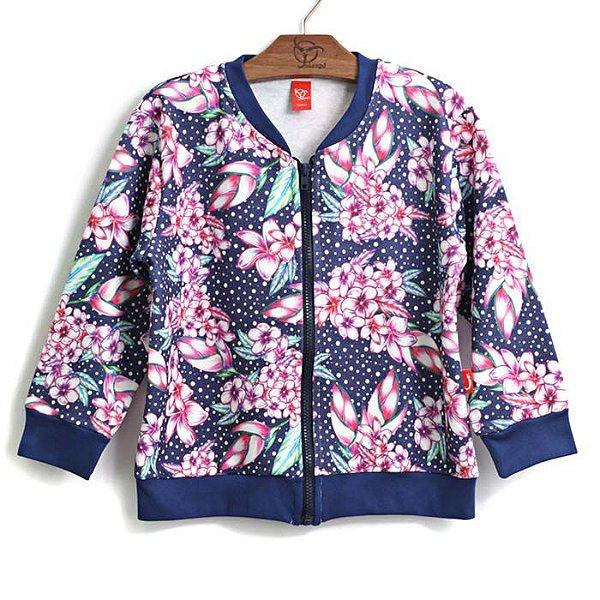 Casaco Infantil Floral Marinho