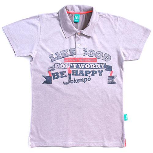 Pólo Jokenpô Infantil Be Happy Cinza