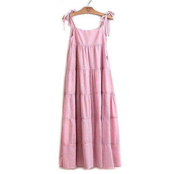 Vestido Longo  Infantil Cambraia Rosa