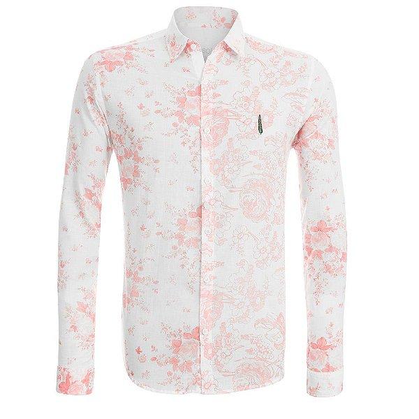 Camisa Jokenpô Adulto em Cambraia Flores Salmão