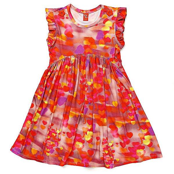 Vestido Jokenpô Infantil Corações Rosa