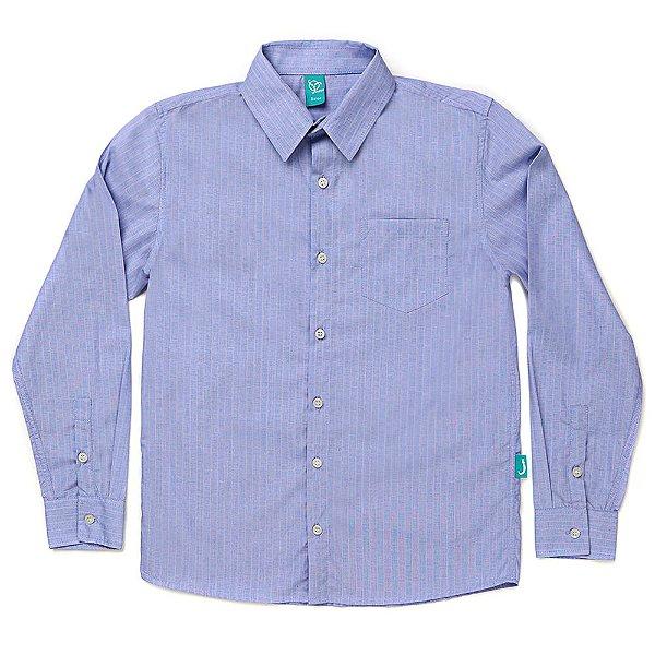 Camisa Jokenpô Infantil em Tricoline Listrada Azul
