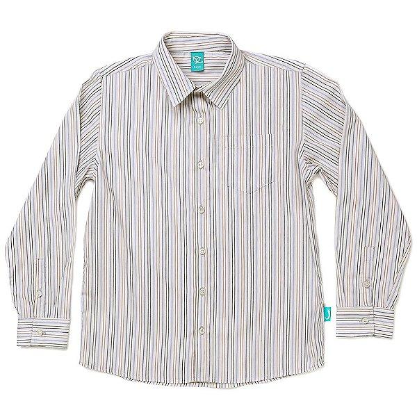 Camisa Jokenpô Infantil em Tricoline Listrada Multicolorida