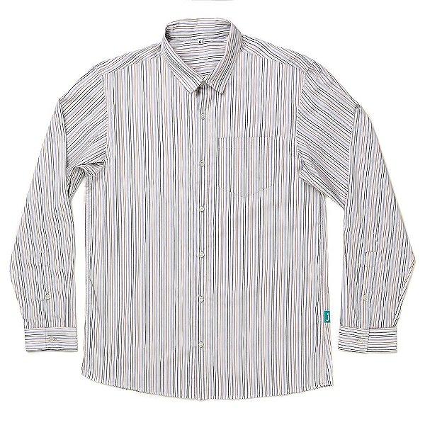 Camisa Jokenpô Casual Tricoline Listrada Multicolorida Masculina