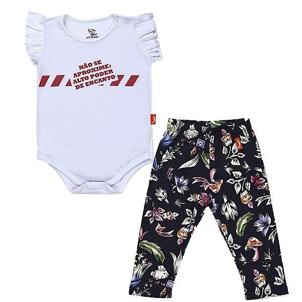 Conjunto 2 Peças - Body Jokenpô Bebê Aproxime + Legging Floral