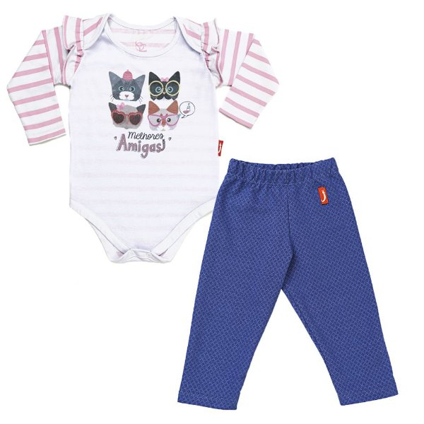 Conjunto 2 Peças - Body Jokenpô Bebê Amigas + Legging Denim