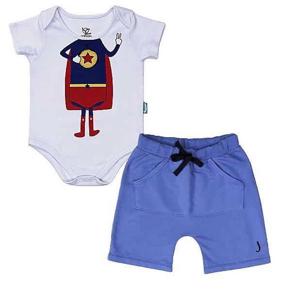 Conjunto 2 Peças - Body Jokenpô Bebê Super + Bermuda