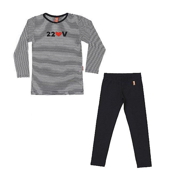 Conjunto 2 Peças - Blusa 220v + Legging Preta
