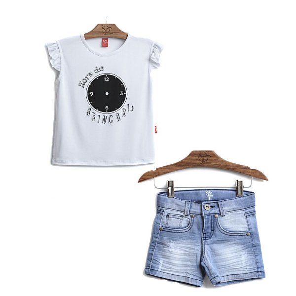 Conjunto 2 Peças - Blusa Hora Brincar + Shorts Jeans