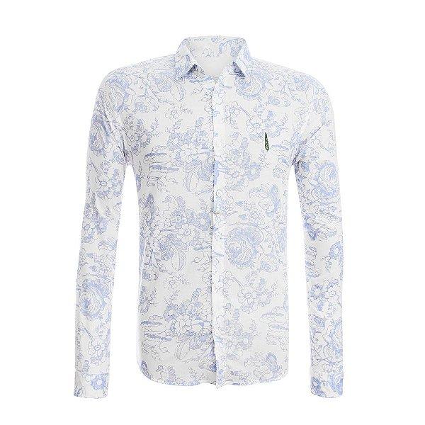 Camisa Jokenpô Casual Cambraia Buquê Azul Masculina