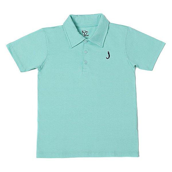 Camisa Polo Infantil Jokenpô Básica Masculina Verde Água