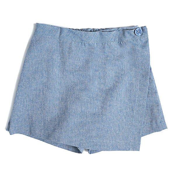 Saia Shorts Infantil Jokenpô Chambray