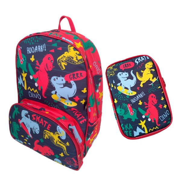 Kit Jokenpô/Ó Design Mochila Kids + Estojo Escolar Dino