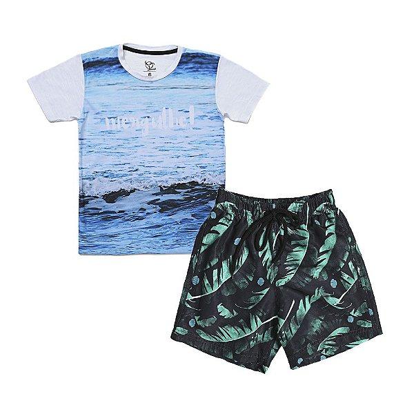 Conjunto Jokenpô 2 Peças - Camiseta Mergulhe + Shorts D'Água Folhagem
