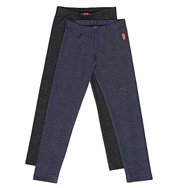 Kit 2 Leggings Infantil Jokenpô Malha Jeans Feminino - Preta + Azul