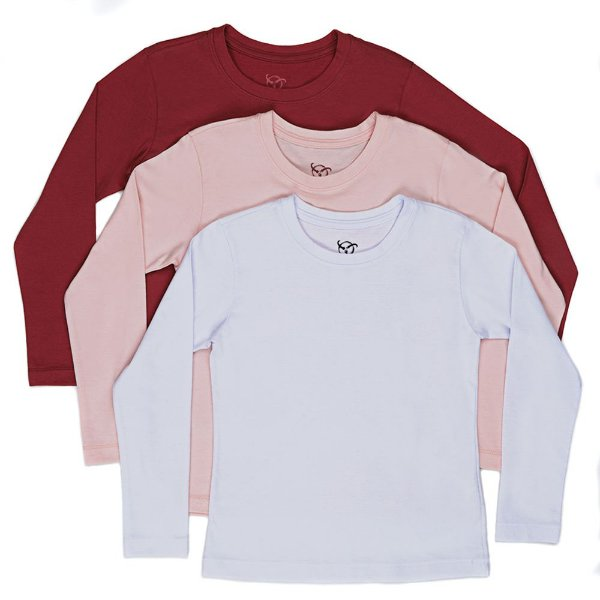 Kit 3 Camisetas Infantil Jokenpô Básica M/L Feminina