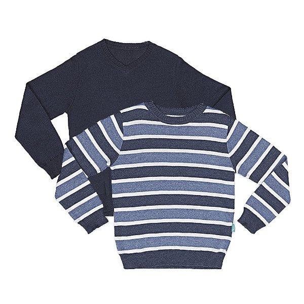 Kit 2 Blusas Infantil Jokenpô Tricot Masculina Azul