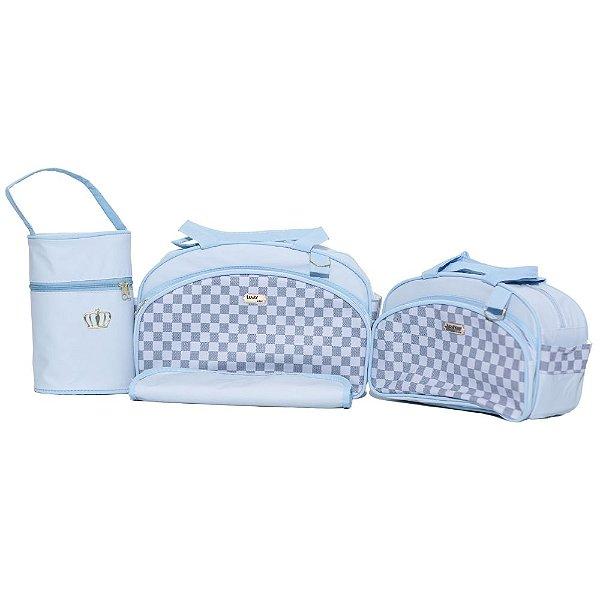 Kit Bolsa Maternidade Jokenpô / Ludy Baby Xadrez Oval Azul Bebê