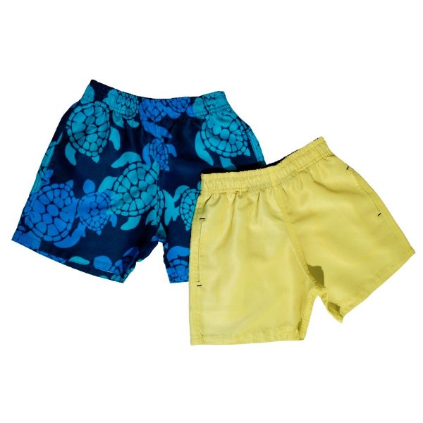 Kit 2 Shorts D'água Infantil Jokenpô Tartaruga Masculino Azul + Amarelo