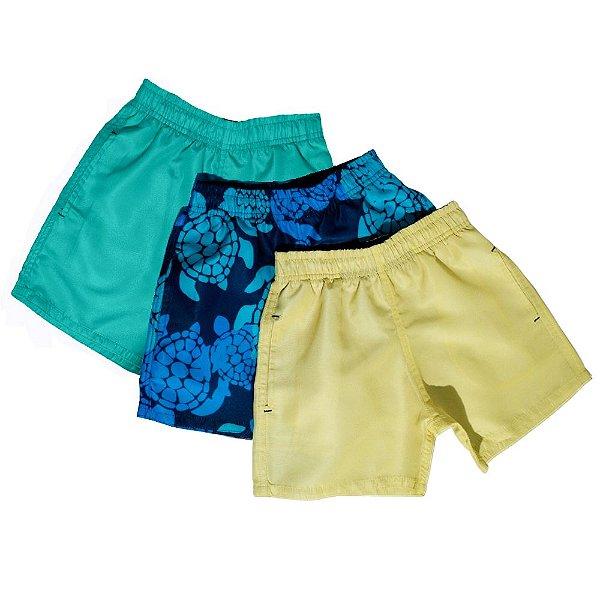 Kit 3 Shorts D'água Infantil Jokenpô Tartaruga Masculino Azul + Amarelo + Verde Água