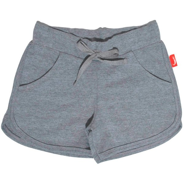 Shorts Infantil Jokenpô Malha Feminino Cinza Mescla