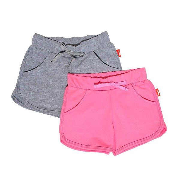 Kit 2 Shorts Infantil Jokenpô Malha Feminino Rosa/Cinza