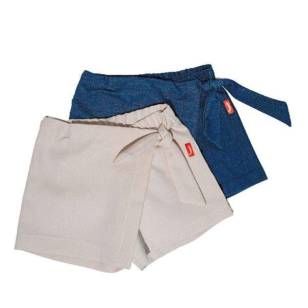 Kit 2 Saias Shorts Infantil Jokenpô Nó Sarja e Malha Jeans Feminino Cru + Azul