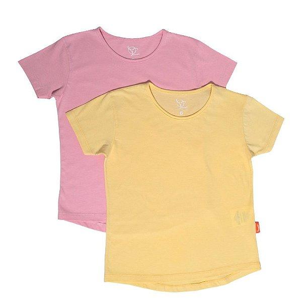 Kit 2 Camisetas Infantil Jokenpô Básica M/C Feminina Rosa + Amarela