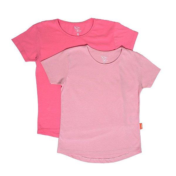 Kit 2 Camisetas Infantil Jokenpô Básica M/C Feminina Pink + Rosa
