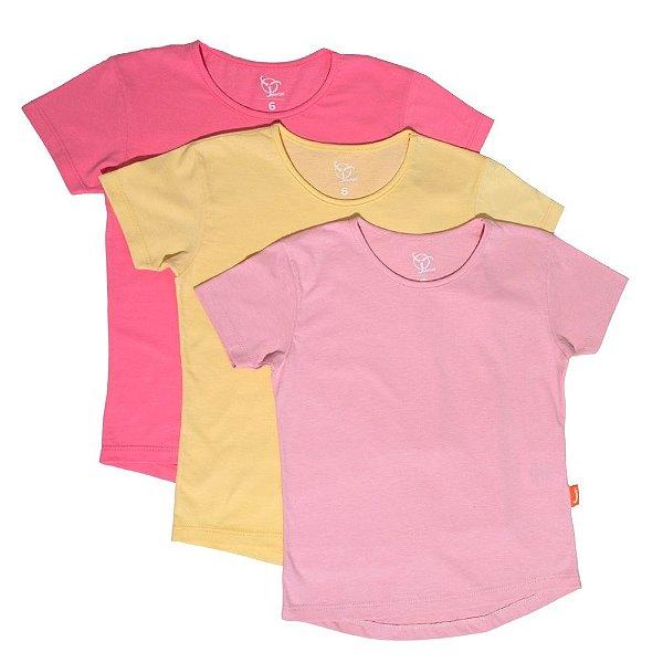 Kit 3 Camisetas Infantil Jokenpô Básica M/C Feminina Pink + Amarela + Rosa