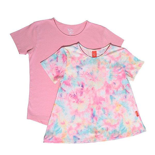 Kit 2 Camisetas Infantil Jokenpô Tie Dye + Básica Feminina Rosa