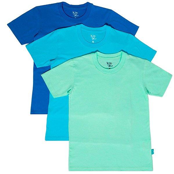Kit 3 Camisetas Infantil Jokenpô Básica M/C Masculina Azul + Azul Claro + Verde Água