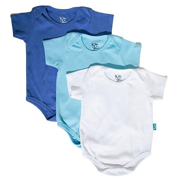 Kit 3 Bodies Bebê Jokenpô Básico M/C Masculino Azul Claro + Azul + Branco