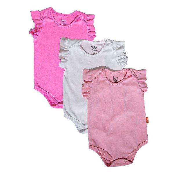 Kit 3 Bodies Bebê Jokenpô Básico M/C Feminino Pink + Rosa + Branco