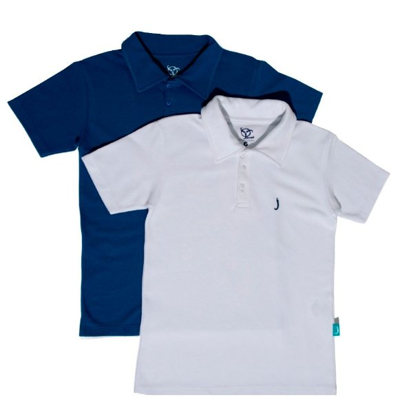Kit 2 Camisas Polo Infantil Jokenpô Piquet Masculina Branca + Azul