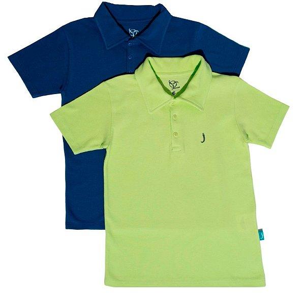 Kit 2 Camisas Polo Infantil Jokenpô Piquet Masculina Azul + Verde Neon