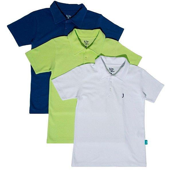 Kit 3 Camisas Polo Infantil Jokenpô Piquet Masculina Azul + Verde Neon + Branca