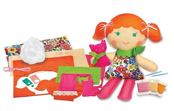Costure uma boneca e um Gatinho de estimação - Boneca para Costurar