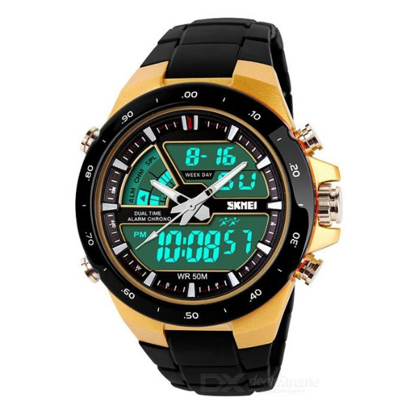 6f58491822f Relógio de Pulso SKEMEI - Preto + Dourado