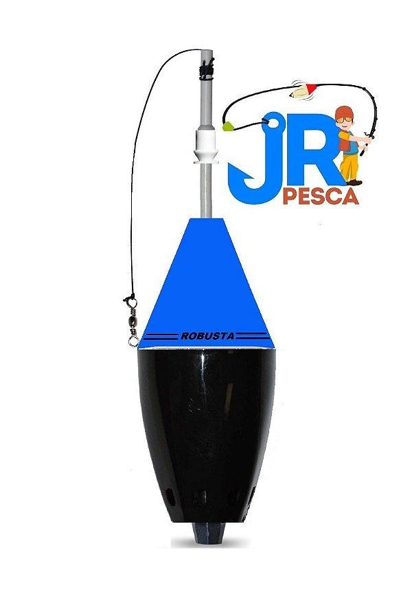 Bóia Cevadeira Robusta com Amortecedor 65g JR Pesca Cor Azul e Preta