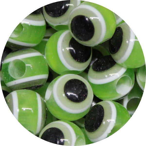 Miçanga Pesca Olho Grego Verde - Furo Maior 10mm
