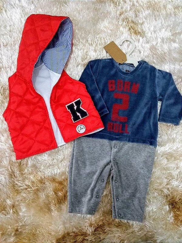 Macacão Plush Colete Matelassê - Petekinha Baby Moda Feminina e Infantil c716f481207a0