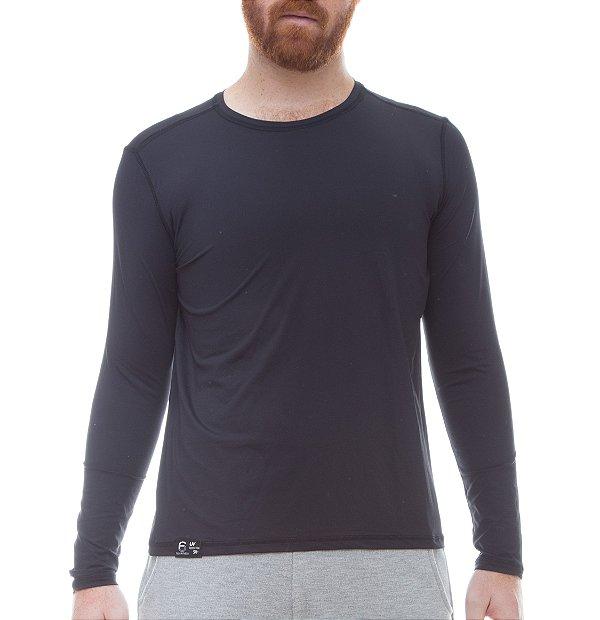 Camiseta Masculina Proteção Solar Uv50 Manga Longa - Preto - Slim Fitness