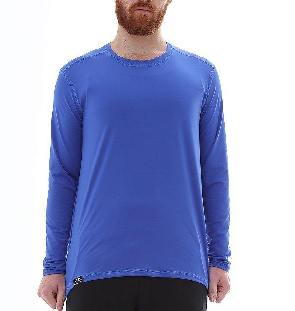 Camiseta Masculina Proteção Solar Uv50 Manga Longa - Azul Royal - Slim Fitness
