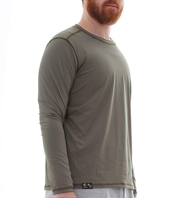 Camiseta Masculina Proteção Solar Uv50 Manga Longa - Verde Escuro - Slim Fitness