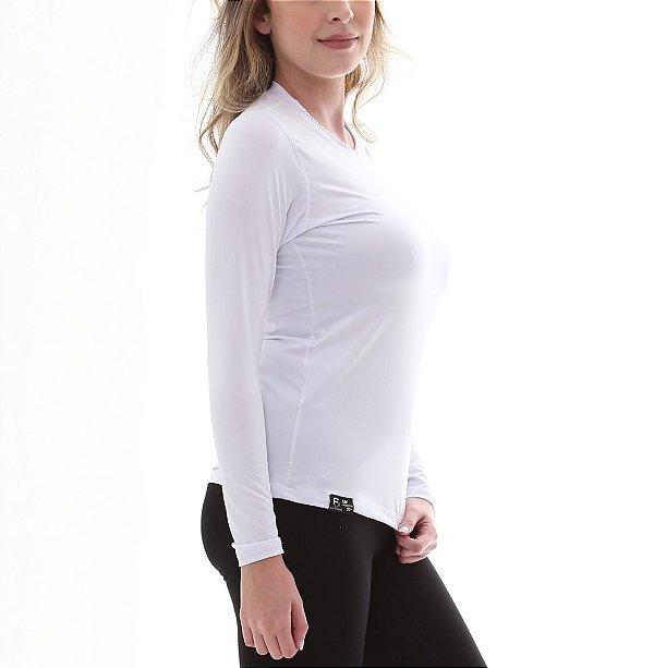 Camiseta Feminina Proteção Solar UV5+ Manga Longa - Branco - Slim Fitness