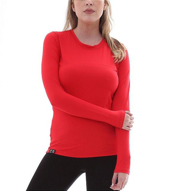 Camiseta Feminina Proteção Solar UV50+ Manga Longa - Vermelha - Slim Fitness