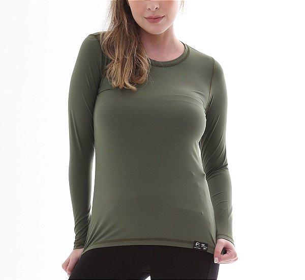 Camiseta Feminina Proteção Solar UV50+ Manga Longa - Verde Escuro - Slim Fitness