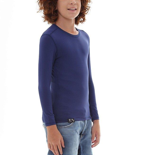 Camiseta Infantil Proteção Solar Uv50 - Azul Marinho - Slim Fitness