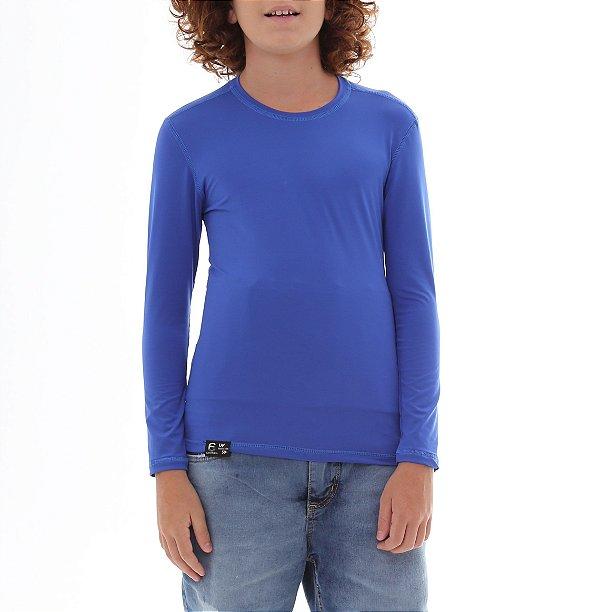 Camiseta Infantil Proteção Solar Uv50 - Azul Royal - Slim Fitness